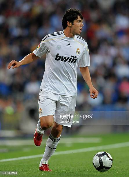 Kaka of Real Madrid runs with the ball during the La Liga match between Real Madrid and Xerez at the Estadio Santiago Bernabeu on September 20 2009...