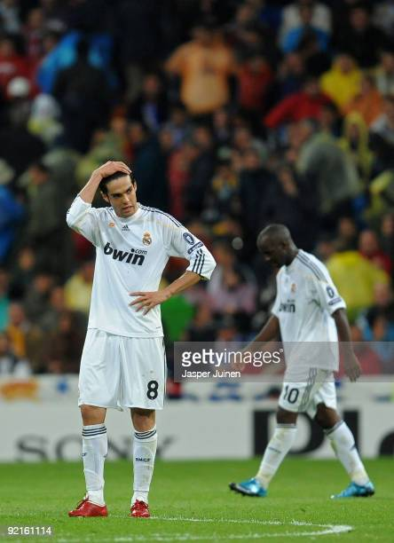 Kaka of Real Madrid stands dejected after conceding a goal during the Champions League group C match between Real Madrid and AC Milan at the Estadio...