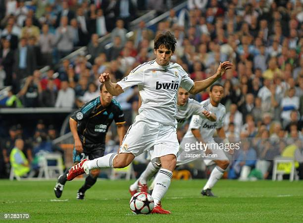 Kaka of Real madrid strikes to score from the penalty spot during the Champions League group C match between Real Madrid and Marseille at the Estadio...