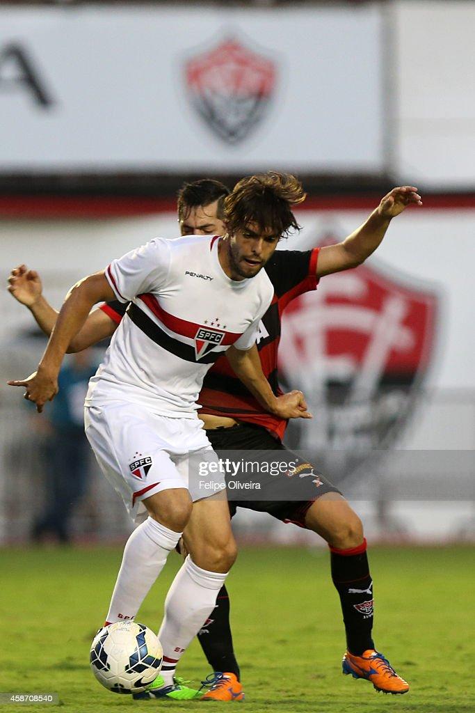 Kaka of Sao Paulo battles for the ball during the match between Vitoria and Sao Paulo as part of Brasileirao Series A 2014 at Estadio Manoel Barradas on November 9, 2014 in Salvador, Bahia, Brazil.