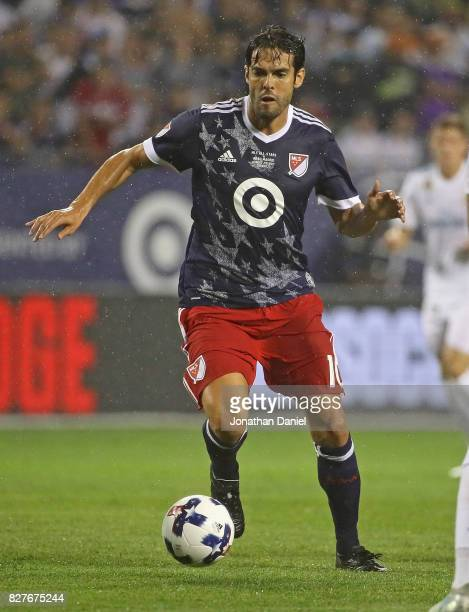 Kaka of the MLS AllStars controls the ball against Real Madrid during the 2017 MLS All Star Game at Soldier Field on August 2 2017 in Chicago...