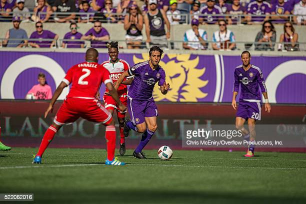 Kaka of the Orlando City Lions advances with the ball vs New England Revolution at the Citrus Bowl in Orlando Florida on April 17 2016