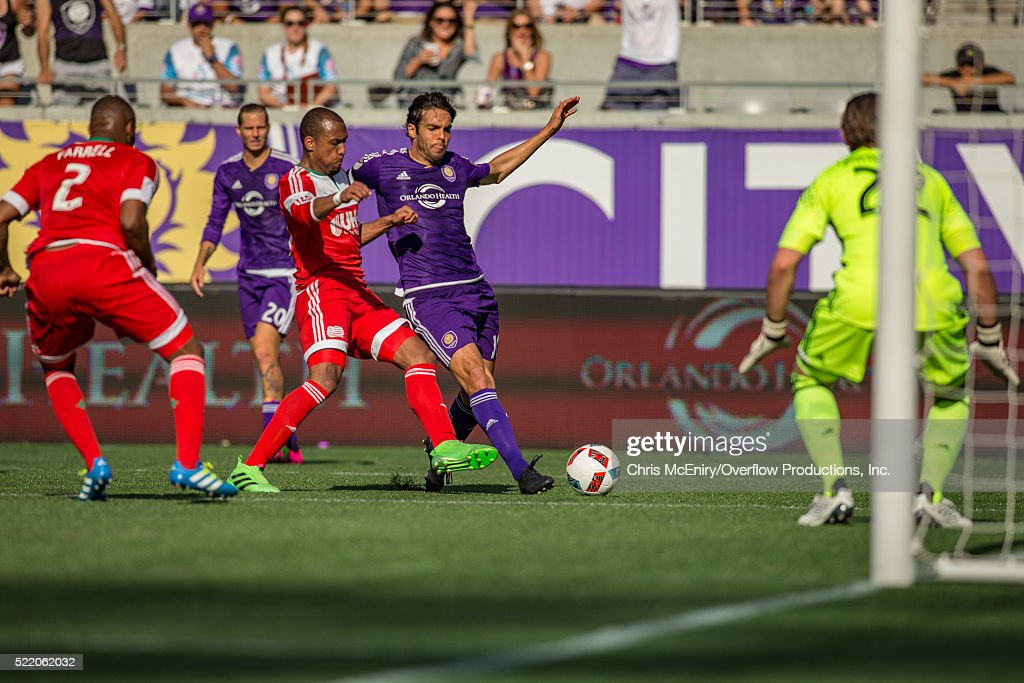 Kaka #10 of the Orlando City Lions aimes at the goal against the New England Revolution at the Citrus Bowl in Orlando, Florida on April 17, 2016.