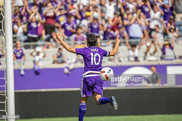 Kaka of the Orlando City Lions celebrates after scoring a penalty kick against the New England Revolution April 17 2016 at the Citrus Bowl in Orlando...
