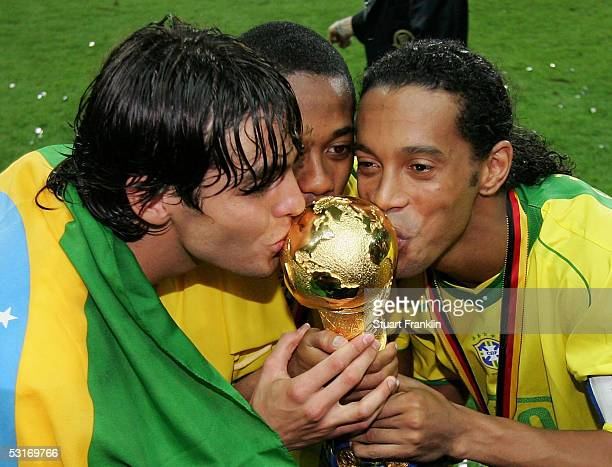 Kaka Robinho and Ronaldinho of Brazil kiss the trophy following the FIFA 2005 Confederations Cup Final between Brazil and Argentina on June 29 2005...
