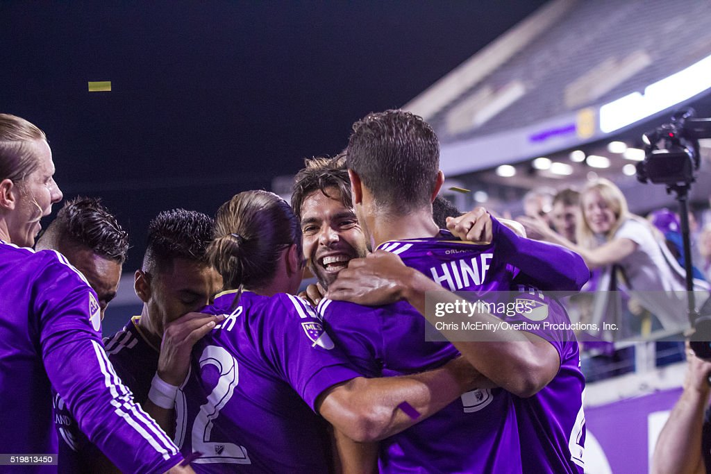Kaka #10, Seb Hines #3 of Orlando City SC celebrate a goal against the Portland Timbers at the Citrus Bowl on April 3, 2016 in Orlando, Florida.