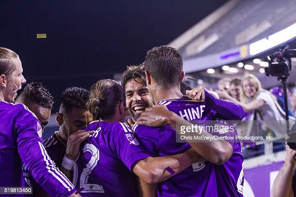 Kaka, Seb Hines of Orlando City SC celebrate a goal against the Portland Timbers at the Citrus Bowl on April 3, 2016 in Orlando, Florida.