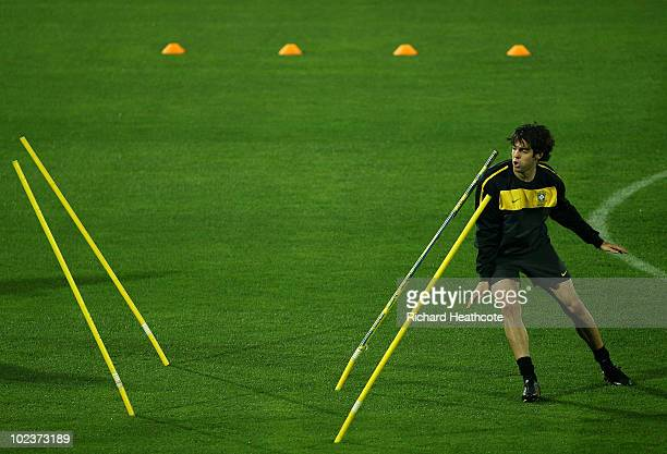 Kaka undergoes a fitness test during the Brazil training session at the Princess Magogo Stadium on June 24 2010 in Durban South Africa Brazil will...