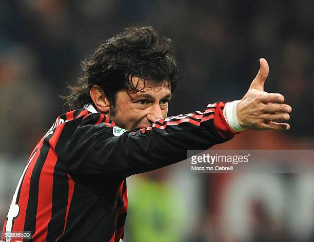 Kakaber Kaladze of AC Milan gestures during the Serie A match between AC Milan and Parma FC at Stadio Giuseppe Meazza on October 31 2009 in Milan...