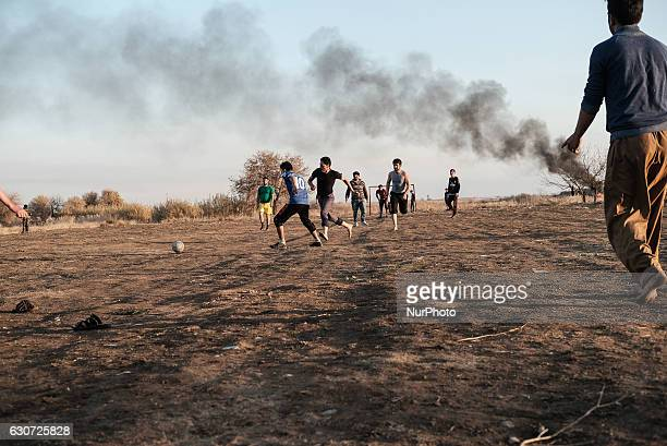 Kakais boys playing football in Tel Laban/ Gazakan on 30 December 2016 The Kakai Kurds are returning to their homes as Mosul offensive continiues The...