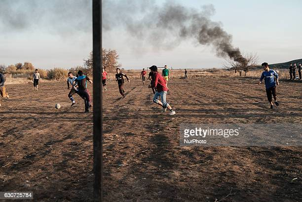 Kakais boys playing fotball in Tel Laban/ Gazakan on 30 December 2016 The Kakai Kurds are returning to their homes as Mosul offensive continiues The...