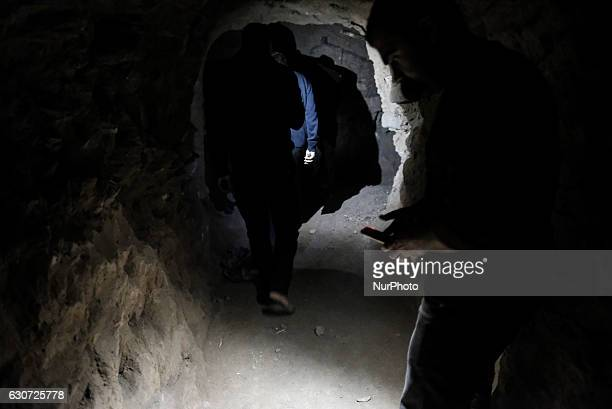 Kakais men inside tunnel in Tel Laban/ Gazakan on 30 December 2016 The Kakai Kurds are returning to their homes as Mosul offensive continiues The...