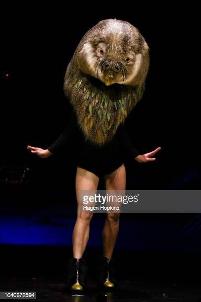 'Kakapo Queen' by Stephanie Cossens of New Zealand is modelled in the Aotearoa Section during the World of WearableArt Preview 2018 at TSB Bank Arena...