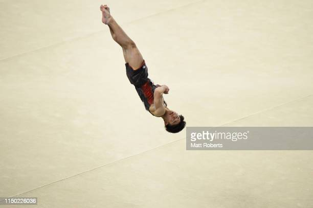 Kakeru Tanigawa of Japan competes on the Floor during day two of the Artistic Gymnastics NHK Trophy at Musashino Forest Sport Plaza on May 19, 2019...
