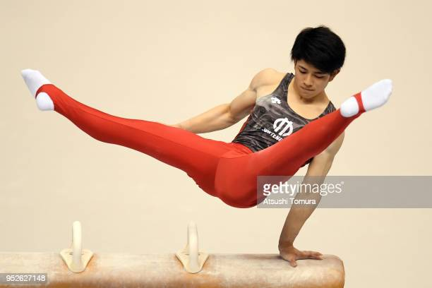 Kakeru Tanigawa of Japan competes on the Pommel Horse during day three of the All Japan Artistic Gymnastics Championships at the Tokyo Metropolitan...
