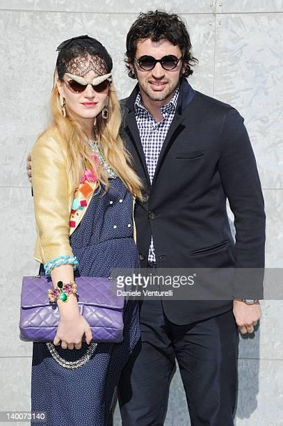 Kakha Kaladze and his wife Anuki Kaladze attend the Giorgio Armani Autumn/Winter 2012/2013 fashion show as part of Milan Womenswear Fashion Week on...