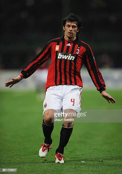 Kakha Kaladze of AC Milan in action during the UEFA Champions League 1st knockout round 2nd leg match between AC Milan and Arsenal at the San Siro...