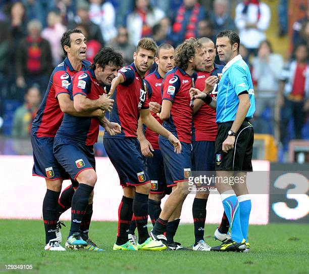 Kakha Kaladze of Genoa CFC reacts after being given a red card during the Serie A match between Genoa CFC and US Lecce at Stadio Luigi Ferraris on...
