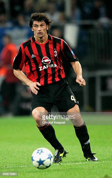 Kakha Kaladze of Milan runs with the ball during the UEFA Champions League Group E match between FC Schalke 04 and AC Milan at the Veltins Arena on...