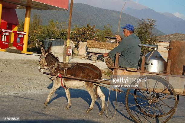 Kakhetian Georgian man transports tools for Vodka distillery on his donkey cart in the background a Gas station and the Caucasus mountains