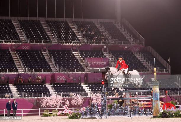 Kaki Saito of Team Japan riding Chilensky competes during the Jumping Individual Qualifier on day eleven of the Tokyo 2020 Olympic Games at...