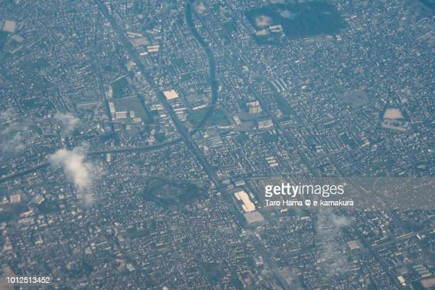Kakogawa city in Hyogo prefecture in Japan sunset time aerial view from airplane