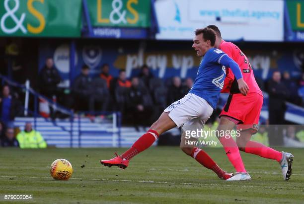 Kal Naismith of Portsmouth scores his sides opening goal during the Sky Bet League One match between Portsmouth and Plymouth Argyle at Fratton Park...