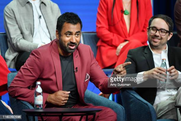 Kal Pen and Matt Murray of Sunnyside speak during the NBC segment of the 2019 Summer TCA Press Tour at The Beverly Hilton Hotel on August 8 2019 in...