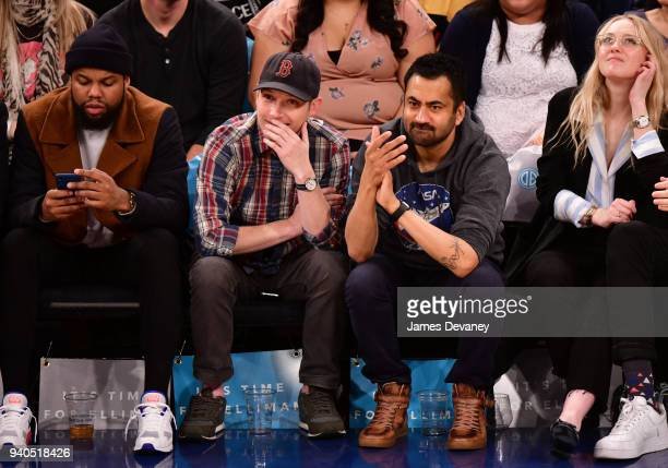 Kal Penn and guest attend New York Knicks Vs Detroit Pistons game at Madison Square Garden on March 31 2018 in New York City