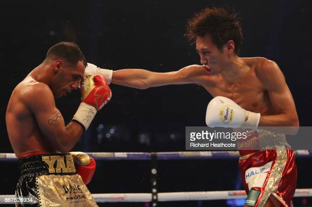 Kal Yafai and Sho Ishida in action during their WBA SuperFlyweight Championship contest at Principality Stadium on October 28 2017 in Cardiff Wales