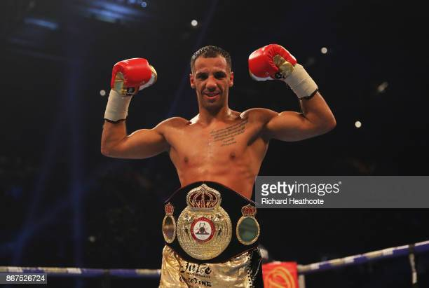 Kal Yafai celebrates victory after his WBA SuperFlyweight Championship contest against Sho Ishida at Principality Stadium on October 28 2017 in...