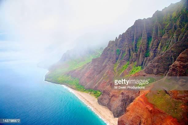 kalalau beach at hawaii - na pali stock photos and pictures