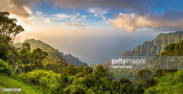 kalalau lookot view - isole hawaii foto e immagini stock