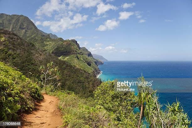kalalau trail, kauai, hawaii - na pali coast stock photos and pictures