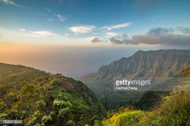 kalalau valley, kauai - na pali coast stock photos and pictures