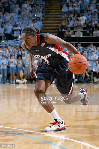 Kalana Greene of the Connecticut Huskies drives the ball during the game against the North Carolina Tar Heels on January 19 2009 at the Dean E Smith...