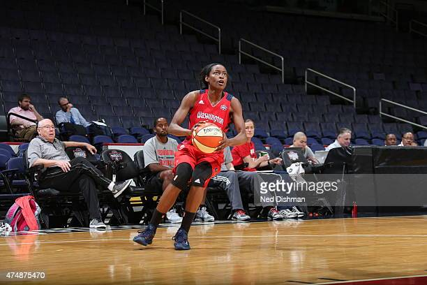 Kalana Greene of the Washington Mystics drives against the Minnesota Lynx during an Analytic Scrimmage at the Verizon Center on May 26 2015 in...
