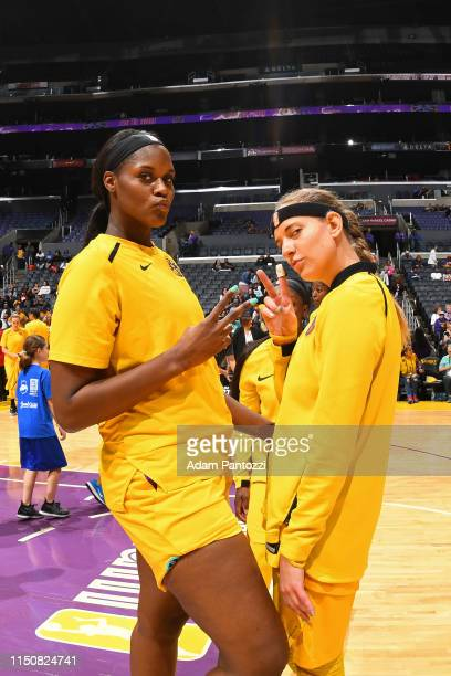 Kalani Brown and Sydney Wiese of Los Angeles Sparks and on June 18 2019 at the Staples Center in Los Angeles California NOTE TO USER User expressly...