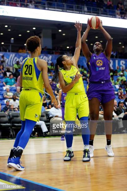 Kalani Brown of Los Angeles Sparks shoots the ball against the Dallas Wings on July 9 2019 at the College Park Arena in Arlington Texas NOTE TO USER...