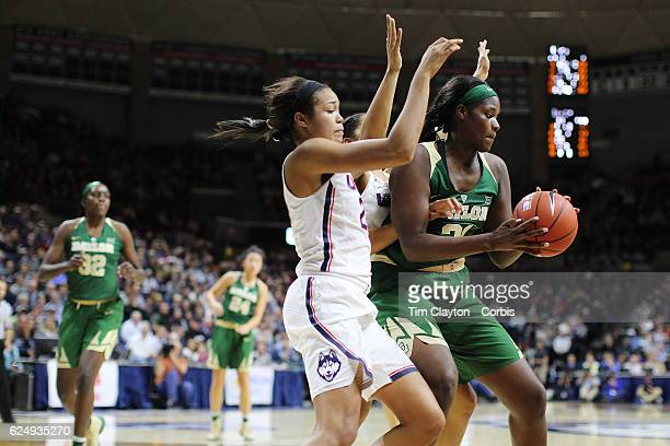 Kalani Brown of the Baylor Bears is defended by Napheesa Collier of the UConn Huskies during the UConn Huskies Vs Baylor Bears NCAA Women's...