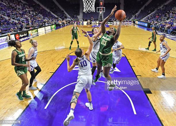 Kalani Brown of the Baylor Bears scores a basket against Kayla Goth of the Kansas State Wildcats during the second half on February 13 2019 at...