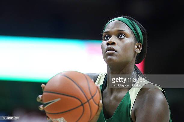 Kalani Brown of the Baylor Bears taking a free throw during the UConn Huskies Vs Baylor Bears NCAA Women's Basketball game at Gampel Pavilion on...