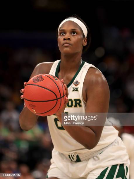 Kalani Brown of the Baylor Lady Bears attempts a free throw against the Oregon Ducks during the fourth quarter in the semifinals of the 2019 NCAA...