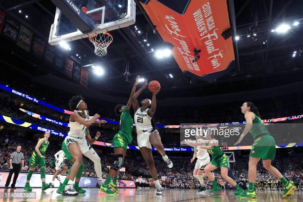 Kalani Brown of the Baylor Lady Bears attempts a shot against the Oregon Ducks during the third quarter in the semifinals of the 2019 NCAA Women's...