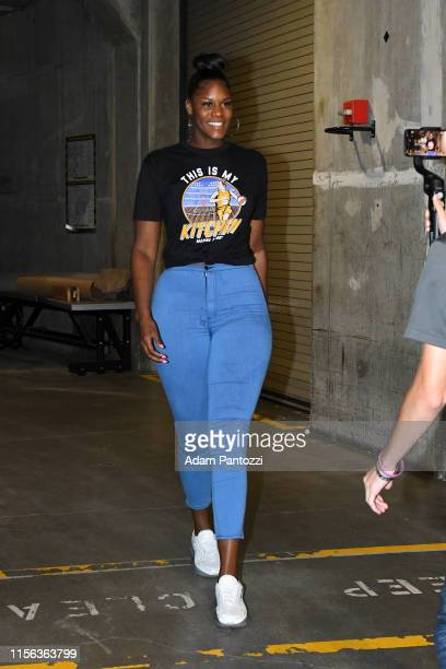 Kalani Brown of the Los Angeles Sparks arrives at the arena before the game against the Dallas Wings on July 18 2019 at the Staples Center in Los...