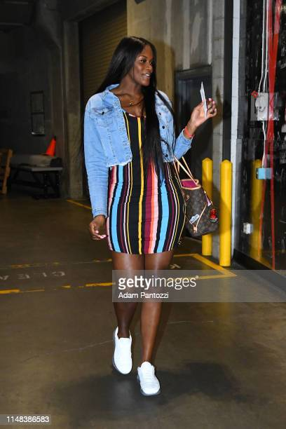 Kalani Brown of the Los Angeles Sparks arrives for the game against the Connecticut Sun on May 31 2019 at the Staples Center in Los Angeles...
