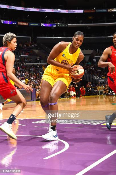 Kalani Brown of the Los Angeles Sparks drives through the paint during the game against the Washington Mystics on July 7 2019 at the Staples Center...