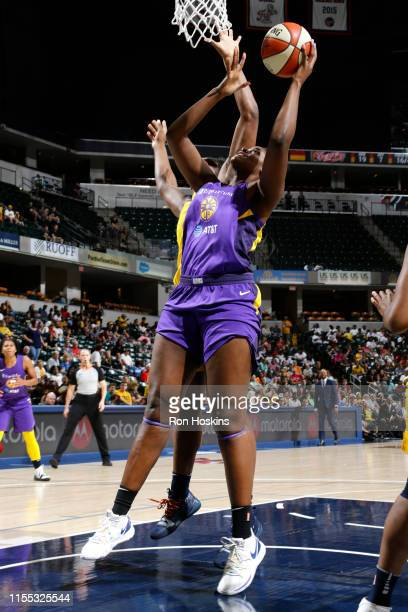 Kalani Brown of the Los Angeles Sparks shoots the ball against the Indiana Fever on July 12 2019 at the Bankers Life Fieldhouse in Indianapolis...