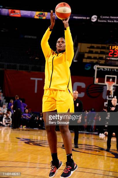 Kalani Brown of the Los Angeles Sparks shoots the ball before a preseason game against the Phoenix Mercury on May 11 2019 at the Talking Stick Resort...