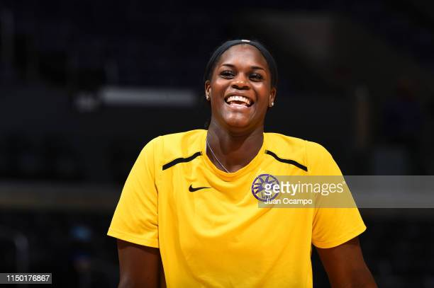 Kalani Brown of the Los Angeles Sparks smiles before the game against the New York Liberty on June 15 2019 at the Staples Center in Los Angeles...